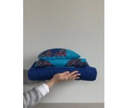 "Lovatiesės su pagalve komplektas (2 pledai ir pagalvė) ""Mėlyna Jūra"" 2"