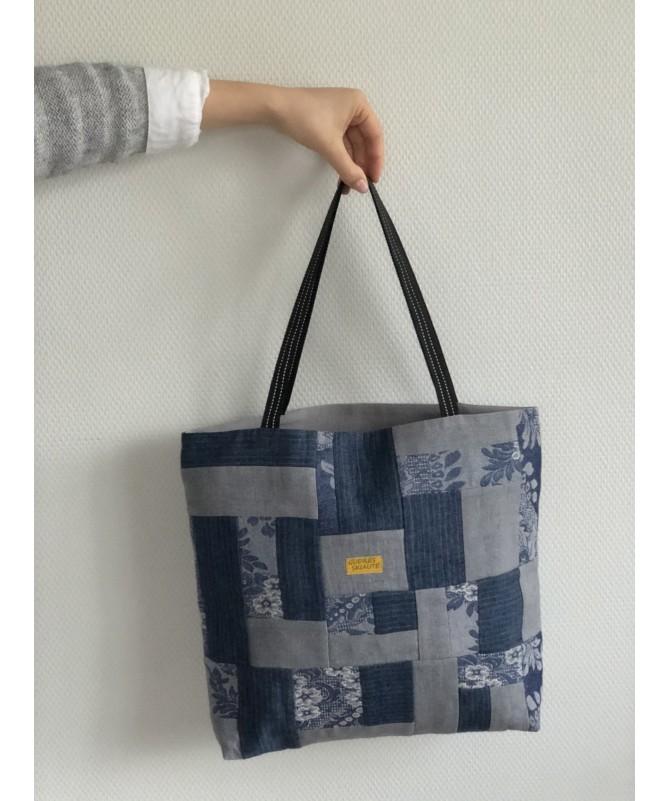 """Lininis skiautinis krepšys """"Mėlyna su pilku"""""""