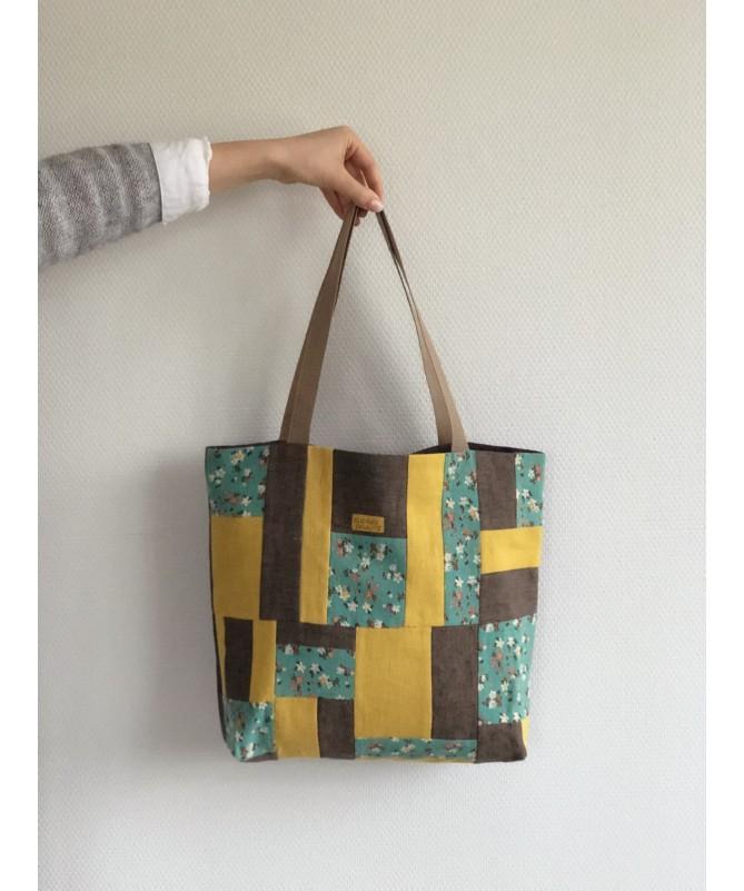 """Lininis skiautinis krepšys """"Geltona gėlė"""""""