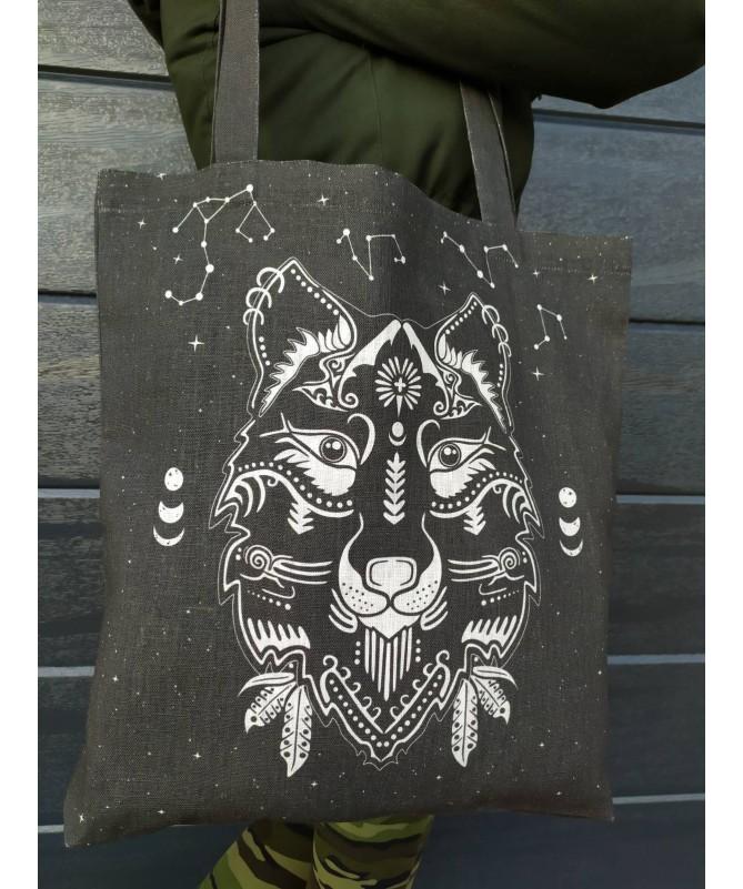 """Lininis krepšys """"Stepių vilkas"""""""