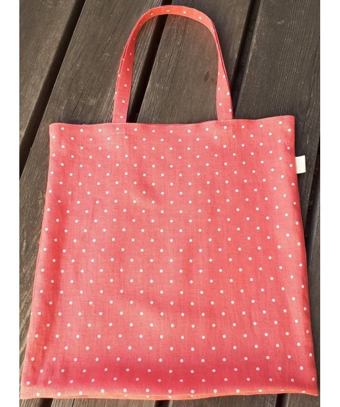Koralinis lininis pirkinių krepšys, maišelis