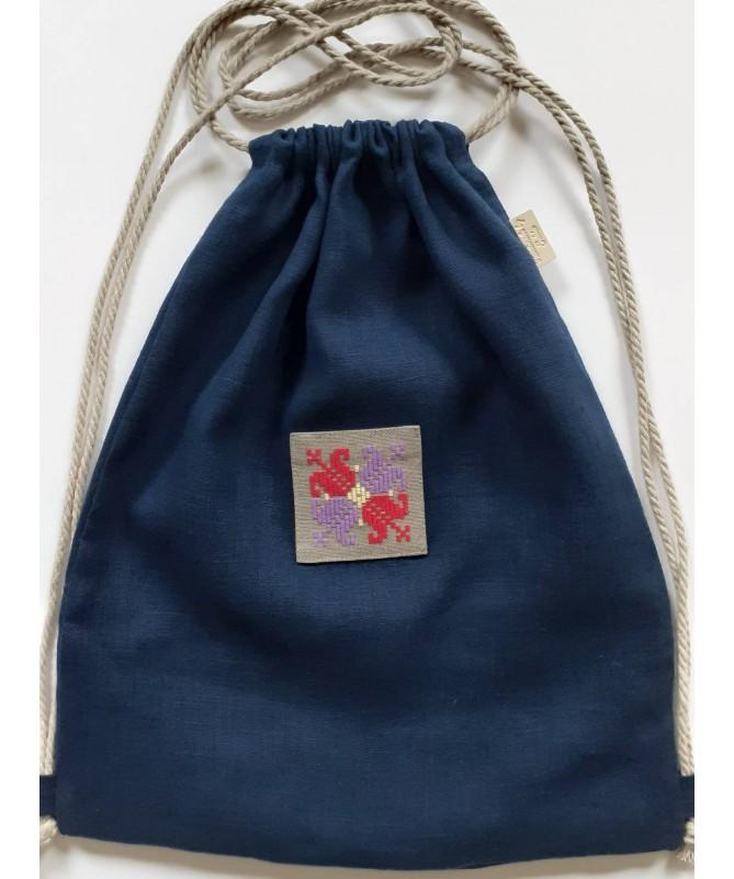 Krepšys-kuprinė su tautiniu motyvu (lininis)