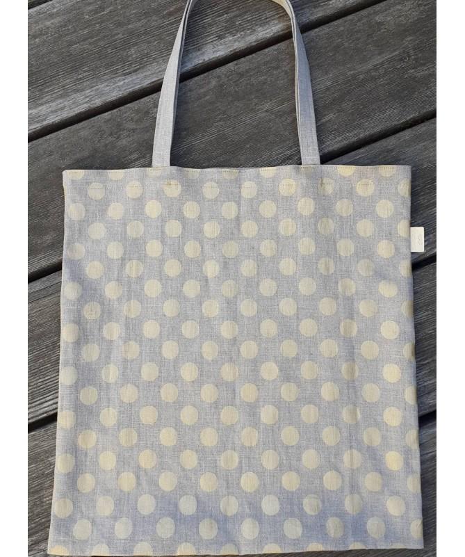"""Lininis pirkinių krepšys, maišelis """"Geltoni taškeliai"""""""
