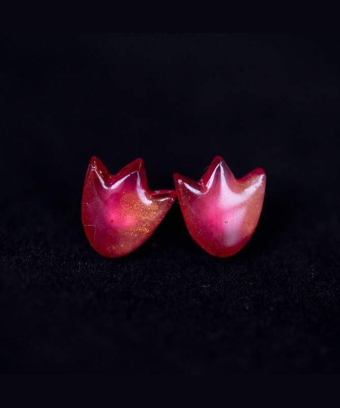 Vienetiniai rankų darbo auskarai - Tulpė (rausvi)