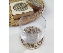 Mediniai padėkliukai puodeliams Gyvenimo gėlė su stikline