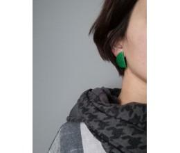 auskarai pusmėnuliukai žalia spalva