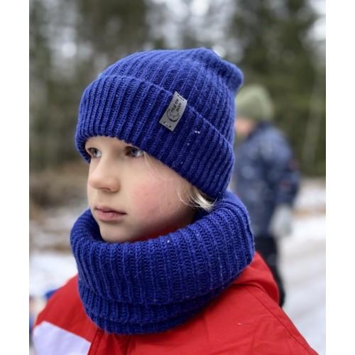 Vaikiška merino vilnos kepurė su bumbulu ir įmaunamas šalikas