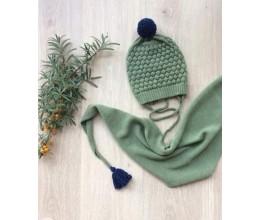 Vaikiška merino vilnos kepurė su raštu ir šalikas 5
