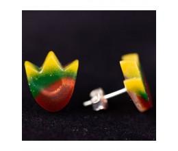 Vienetiniai rankų darbo auskarai - Tulpė (trispalvė) 1