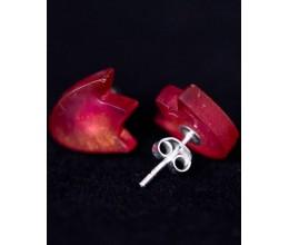 Vienetiniai rankų darbo auskarai - Tulpė (rausvi)2