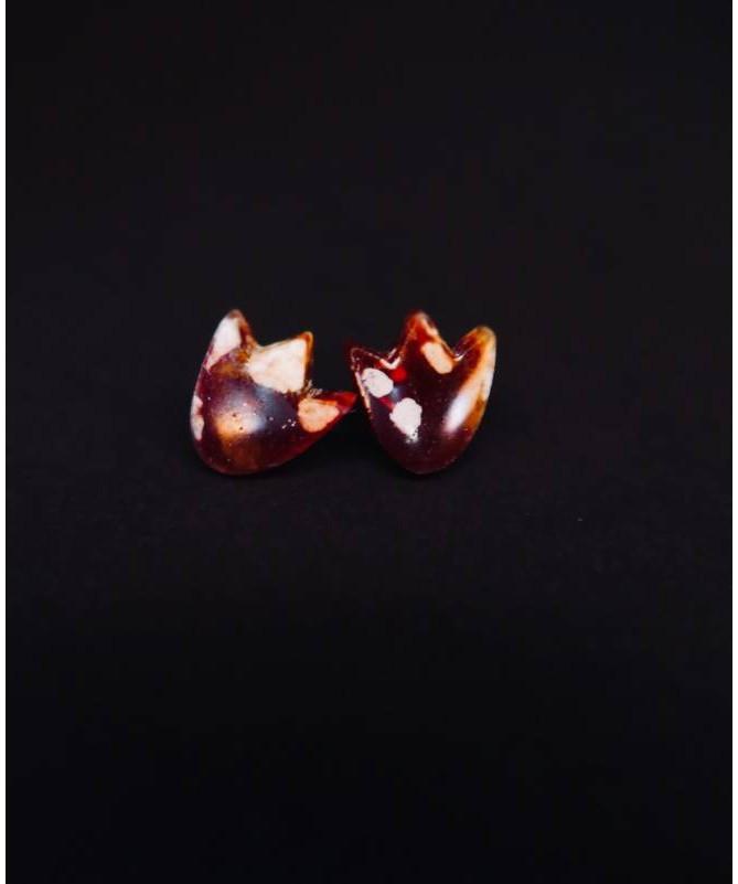 Vienetiniai rankų darbo auskarai - Tulpė (rusvi)