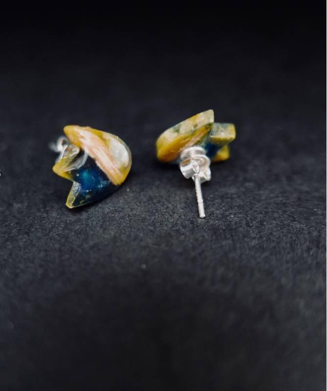 Vienetiniai rankų darbo auskarai - Tulpė (margi)