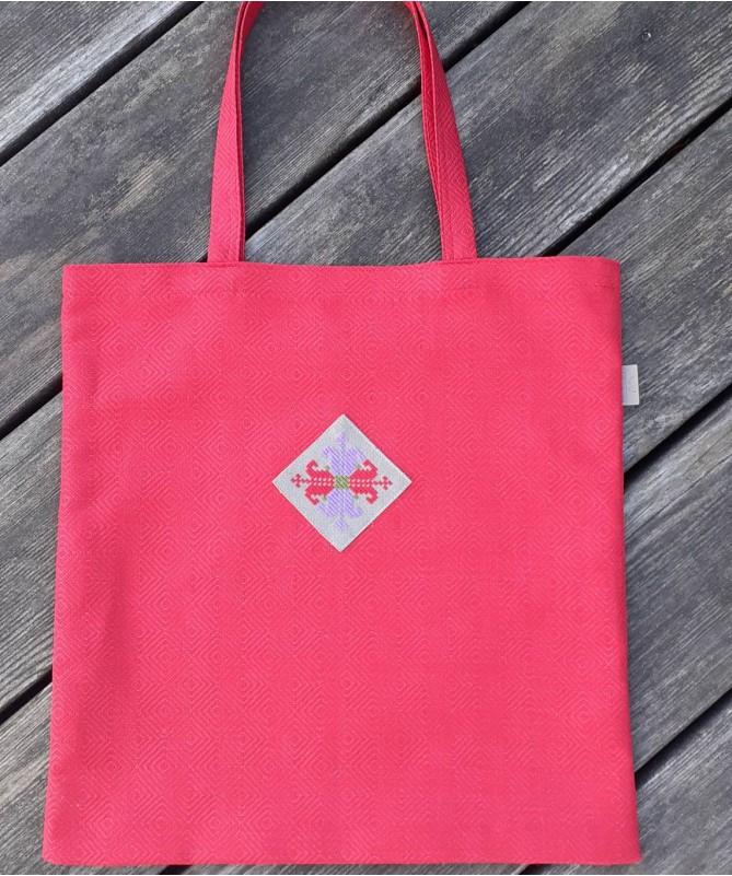 Puslininis pirkinių krepšys su tautiniu motyvu