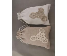 Lininis maišelis puoštas nertais motyvais (13x20) 1