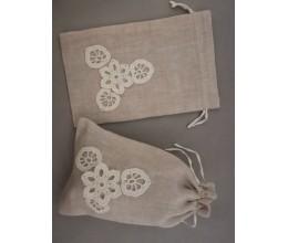 Lininis maišelis puoštas nertais motyvais (13x20) 3
