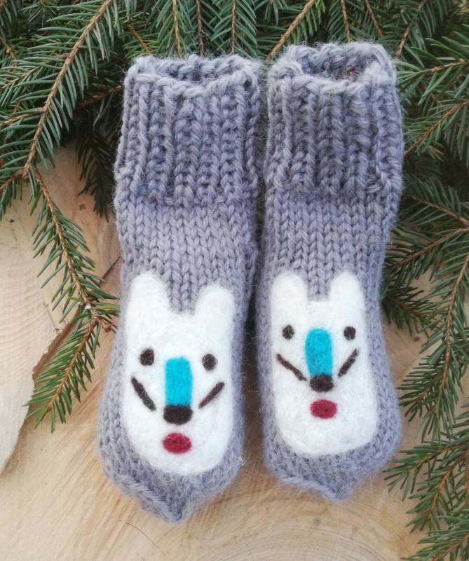 """Vilnoninės kojinės kūdikiams 11cm """"Balta meškutė"""""""