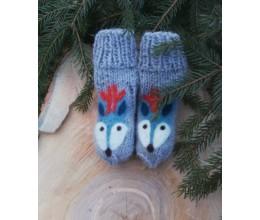 """Vilnoninės kojinės kūdikiams 9cm """"Elniukas"""""""