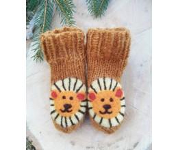 """Vilnoninės kojinės kūdikiams 9cm """"Liūtukas"""""""