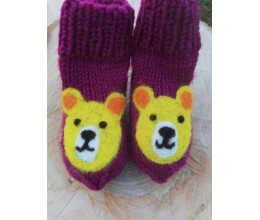 """Vilnoninės kojinės kūdikiams 9cm """"Meškutė"""" 1"""