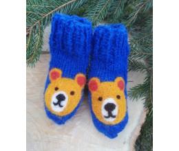 """Vilnoninės kojinės kūdikiams 9cm """"Meškinas"""" 1"""